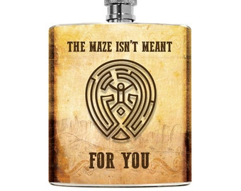 Westworld Maze inspired Gift Flask TV Show Delores Mens Flask Womens Spoof Accessories West World Liquor 6oz Pocket Geek Hip Flask Gift