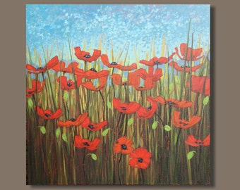 FREE SHIP semi abstract painting, red poppy painting, flowers, floral, field landscape painting, impressionist painting, square original art