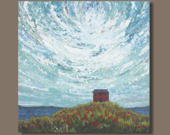 FREE SHIP semi abstract painting, house painting, ocean painting, folk art, east coast nova scotia, impressionist painting, clouds landscape