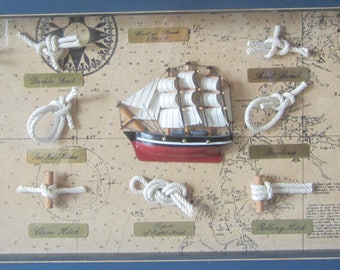 Ships Knots Picture Cutty Sark 1869 Replica Shadow Box