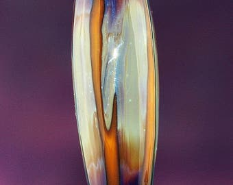 Sunrise Stripes Handmade Lampworked Glass Bead OOAK Orange Blue Purple Sand Amber Barrel Focal Lampwork