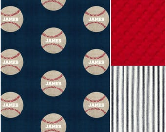 Boy Crib Bedding - Personalized Vintage Baseball Crib Baby Bedding Ensemble
