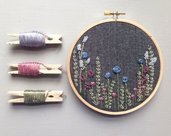 "Hand Embroidered Floral Grey Tweed 5"" Hoop Art, Mothers Day, Modern Embroidery, Wildflowers, Hand Stitched Birthday Gift, Vintage Inspired"