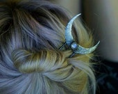 Rainbow Moonstone Crescent Hair Stick