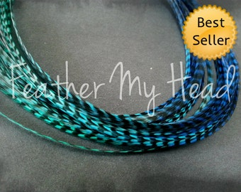 "Feather Hair Extensions - Multi Color Medium Length 7"" - 9"" (18-23cm) Long - 5 Pc - Blue Teal - Tidal Wave"