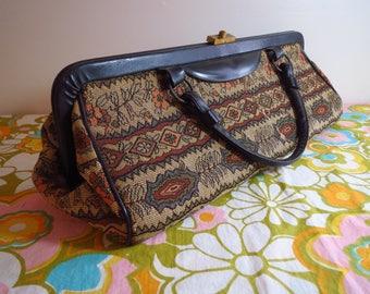 Vintage 1950s Retro Carpet Bag Tapestry Black Purse Hand Bag Pocketbook