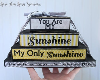 You are My Sunshine, my only sunshine | Baby Blocks | Gender Neutral Nursery | You make me happy when skies are gray | Yellow and Gray Decor