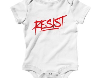 Baby One Piece - Resist Scrawled Infant Romper - NB 6m 12m 18m 24m - Baby Shower Gift, Resist Baby, Political Graffiti, Activist Baby Romper