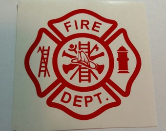 Maltese Cross Decal Yetti Vinyl Sticker Laptop Cell Phone Fire Department