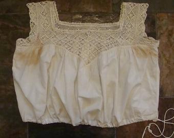 1890's 1900's CORSET COVER UNDERWEAR lingerie lace camisole brassiere L xl