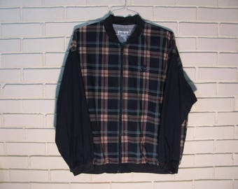 Vtg Izod Plaid Nylon jacket size XL