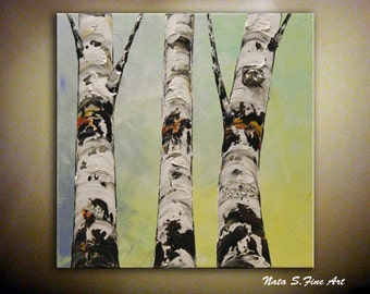 "Original Textured Birch Painting Tree Artwork Palette Knife Modern Birch Tree Painting Modern Home & Office Wall Decor 12"" x 12"" by Nata S."