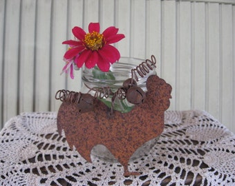 Jar Repurposed Anything Jar Rusty Tin Rooster and Bells Vase Candy Holder Home Decor Glass Rustic