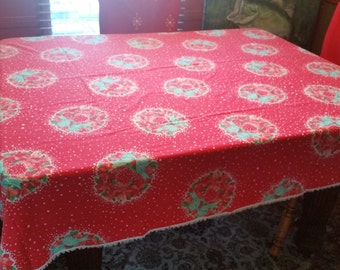 """50% OFF! 61""""x88"""" Vintage Christmas Tablecloth RED Wreaths of Poinsettias Fringe Edge"""