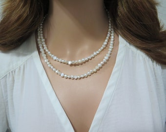 Your Wedding Jewelry, Multi Strand Pearl, Layered Pearl Necklace, Multistrand Pearl Necklace, White Necklace, Pearl Crystal, Bride Pearl