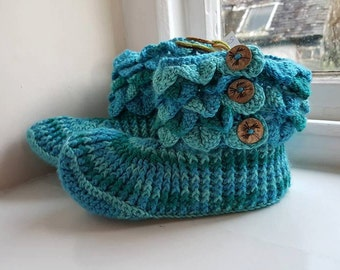 Handmade Crochet Dragon Scale Slipper Boots Made in wales UK