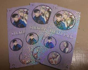 Holographic Character Stickers - Viktor, Yuuri, Yurio - Yuri on Ice fanart
