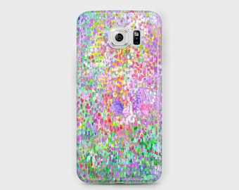 In Bloom Abstract Samsung Phone Case - Pink & Green Impressionist Floral Abstract Art Case for Samsung Phones - Galaxy S4/S5/S6/S7 Edge Ace