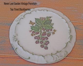Tea Trivet Blackberries and Butterfly Print Porcelain Vintage