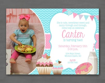 Sweet Cupcakes & Doughnuts Photo Birthday Invitation--Printable Invitation; Teal Turquoise Pink Polka Dots Chevron Donuts Milk
