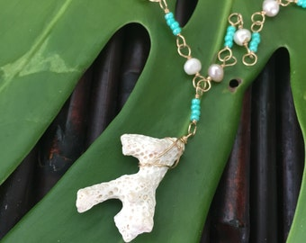 Kailani Necklace with White Coral