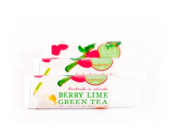 SUMMER SALE - Berry Lime Green Tea Lip Balm - All Natural - Sparkling Green Tea, Sweet Raspberry, Tart Lime