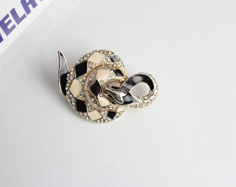 Unsigned white and black  Enamel Snake brooch #1080