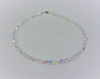 Clear Crystal Ankle Bracelet Clear AB Crystal Anklet Clear Crystal Anklet With Swarovski Elements Sterling Silver Anklet BuyAny3+1 Free