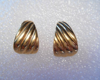 Monet Signed Half Hoop Textured Gold Tone Post Style Pierced Earrings