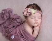 Ready to ship, newborn photography prop, long mauve purple creams beige tieback,baby girl photo prop,newborn photography prop braid tieback