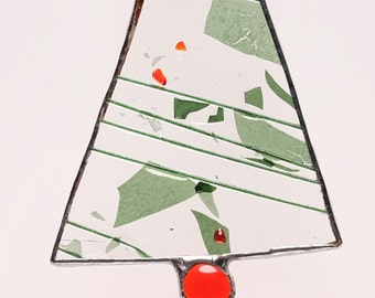 Holiday Tree ornament Holly Berry Christmas stained glass suncatcher
