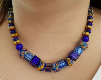 Blue and Yellow Bumpy Lampwork and Cane Glass Bead Necklace