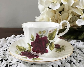 Purple Rose Tea Cup and Saucer / Allyn Nelson Bone China/ England