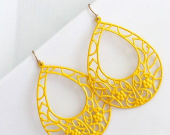 Yellow Statement Earrings, Yellow Teardrop Earrings, Yellow Dangle Earrings, Yellow Filigree Earrings, Bright Earrings