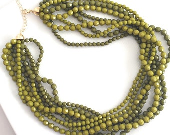 Moss Statment Necklace, Multi Strand Green Necklace, Two Tone Green Necklace, Beaded Green Necklace