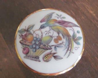 Vintage LIMOGES Small Round Porcelain Trinket Box Lidded Mint Condition