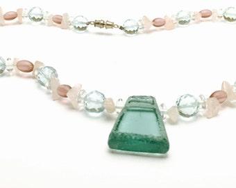 Vintage Emerald Green Pendant, GLASS/Crystal, Beaded Necklace, Tribal Design, Item No. B522