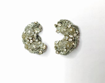 Vintage half moon clip On Earrings,  clear rhinestones, Silver Tone, Vintage Fine Jewelry, Item No. B232