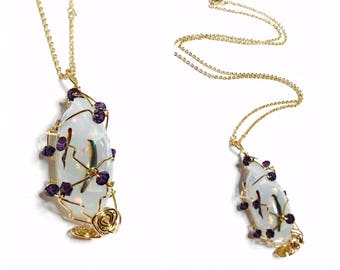Ethiopian OPAL pendant, Swarovski crystals, gold plated wire wrapped, costume made, item no. S142