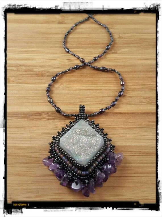 Purple Amethyst Pendant with Black Fresh Water Pearls Necklace, Amethyst & White Druzy, Foxxy Jewelry from Cynthia Fox Design
