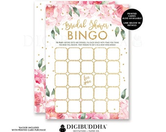 Floral Bridal Shower Bingo Game Card Bridal Shower Bingo Printed Bridal Bingo Game Cards Bridal Shower Game Bingo Printed or DIY - Jenn