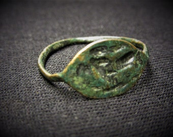 Ancient Ring Bronze Roman  Medieval Era Middle Age Crusades Antique Jewelry Size 8 Ancient Artifact Unique Gift Idea Stocking Stuffer E