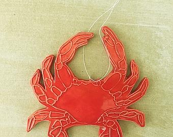 Handmade ceramic crab ornament
