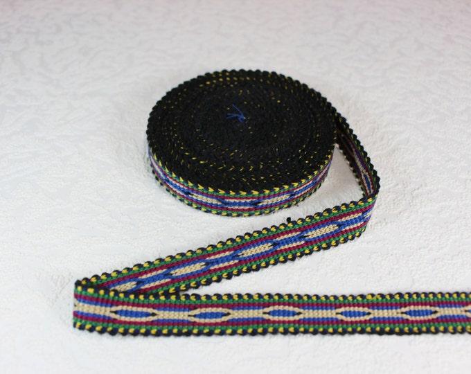 Woven Trim (6 yards), Woven Border, Cotton Ribbon, Grosgrain Ribbon, Dress Border, Border Trim, R161