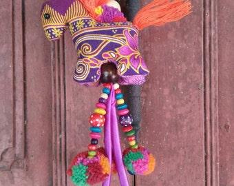 Purple Horse Pom Pom Keychain Handmade