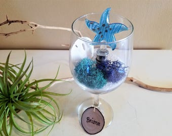 Air plant terrarium - Glass starfish wine cork - Wine glass - Wedding gift - Engagement gift - Bridal shower - Personalized tag