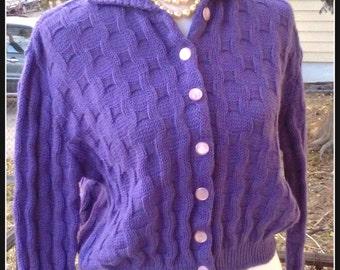 Vintage 1960s Purple Short Cardigan Sweater FEATHERKNITS Collar Mod Mad Men Small Medium