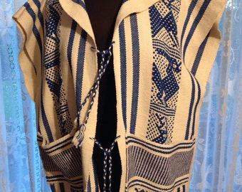Central American or Mexican Loom Woven Vest, Hippie Vest, Retro 1960's, Cobalt Blue and White
