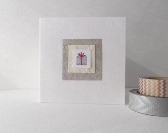 Cute Handmade Birthday Card, Silver Present card, Small Square Luxury White card, hand stamped and coloured.