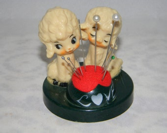 Vintage Dog Poodle Pin Cushion Love Made in Japan